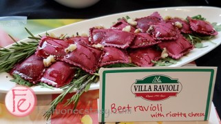 Villa Ravioli's beet ravioli with ricotta cheese