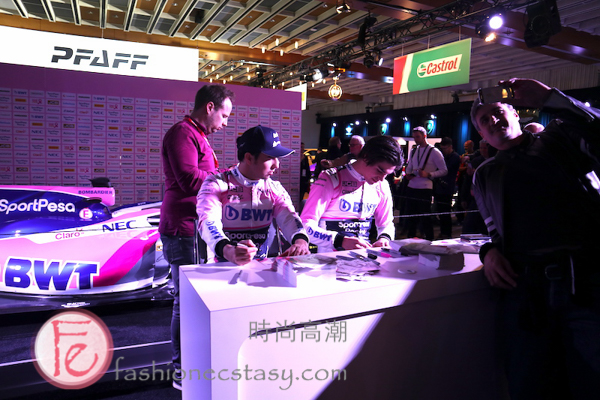 Lance Stroll and Sergio Perez at Canadian International Autoshow 2019