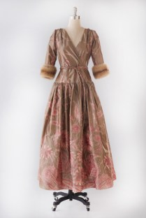 Evening Dress (2007) Bill Blass (attributed) (American, b. 1922- d. 2002)Silk taffeta with sable trimCollection of Debbie Kimel, worn in 2007 to her eldest daughter's wedding