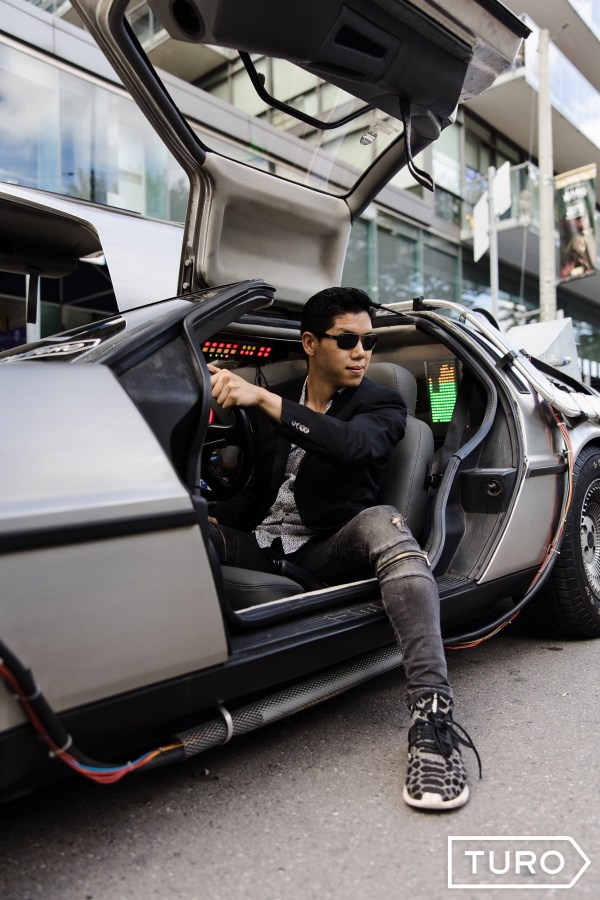 TIFF2019 ( Toronto International Film Festival 2019 ) celebrities with Turo's DeLorean ( Back to the Future) car at Bask-it-Style gifting lounge