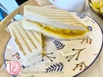 "禚食樂Just Love早午餐餐廳「南瓜起士帕尼尼」(蛋奶素、$70元)/ Just Love Restaurant's ""pumpkin cheese panini ($70NT)"