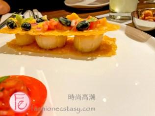 """北海道干貝鮮芒沙拉 ($480) / """" Scallop Mango and Tomato Coulee (TWD$480)"""