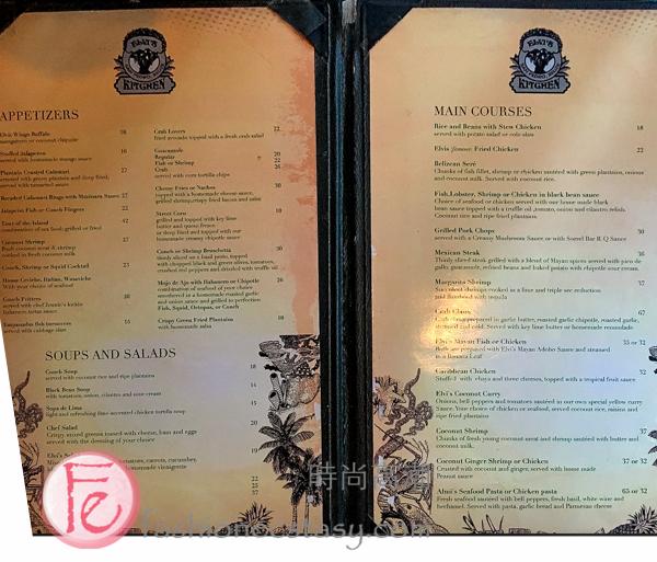 Elvi's Kitchen's menu, San Pedro, Ambergris Caye, Belize