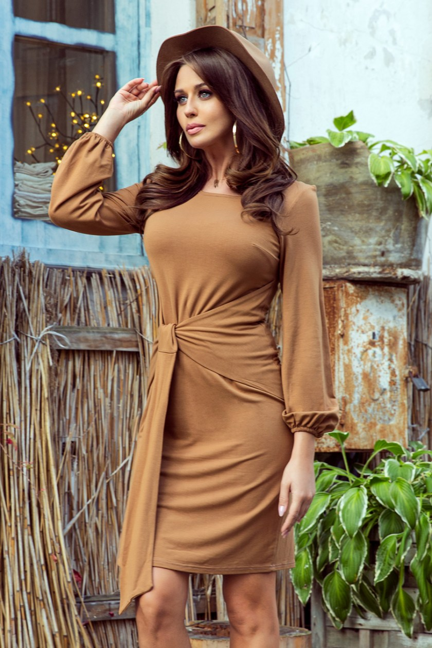 casual brown dress -