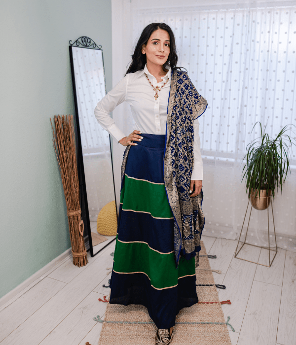 Ethnic skirt with white shirt