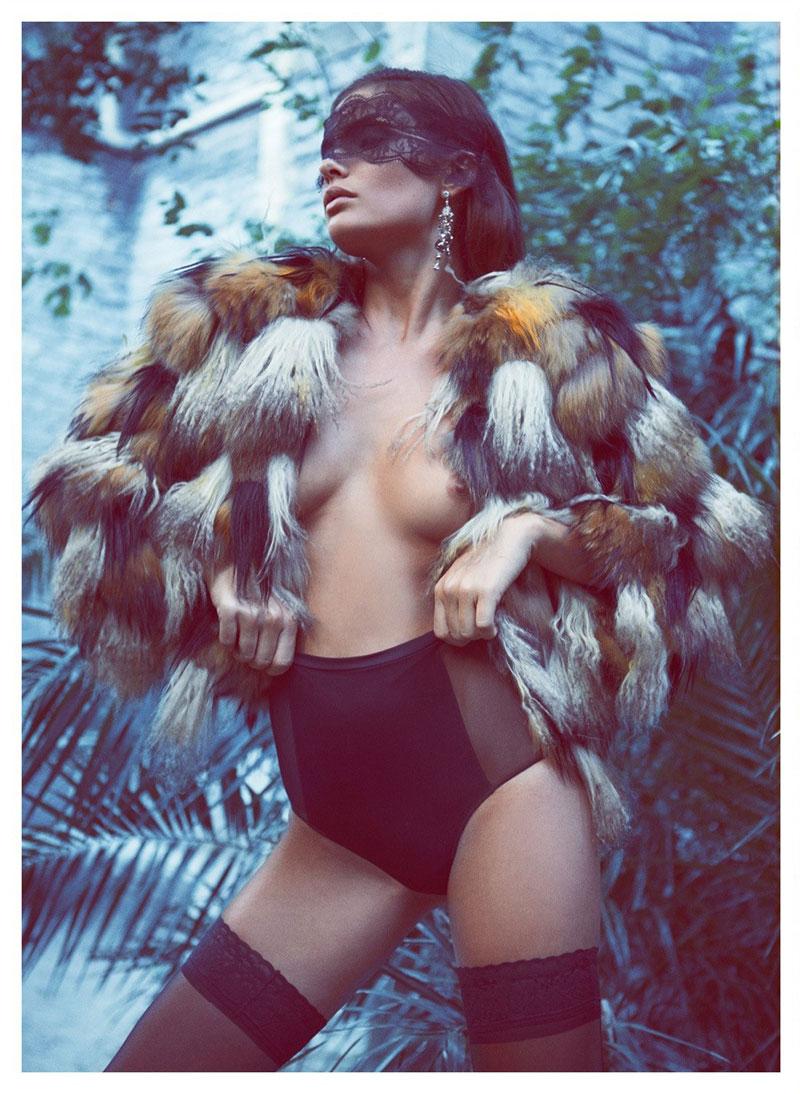 AlyssaLingerie4 Alyssa Miller Wows in Fur Styles for Harpers Bazaar Turkey December by Koray Birand