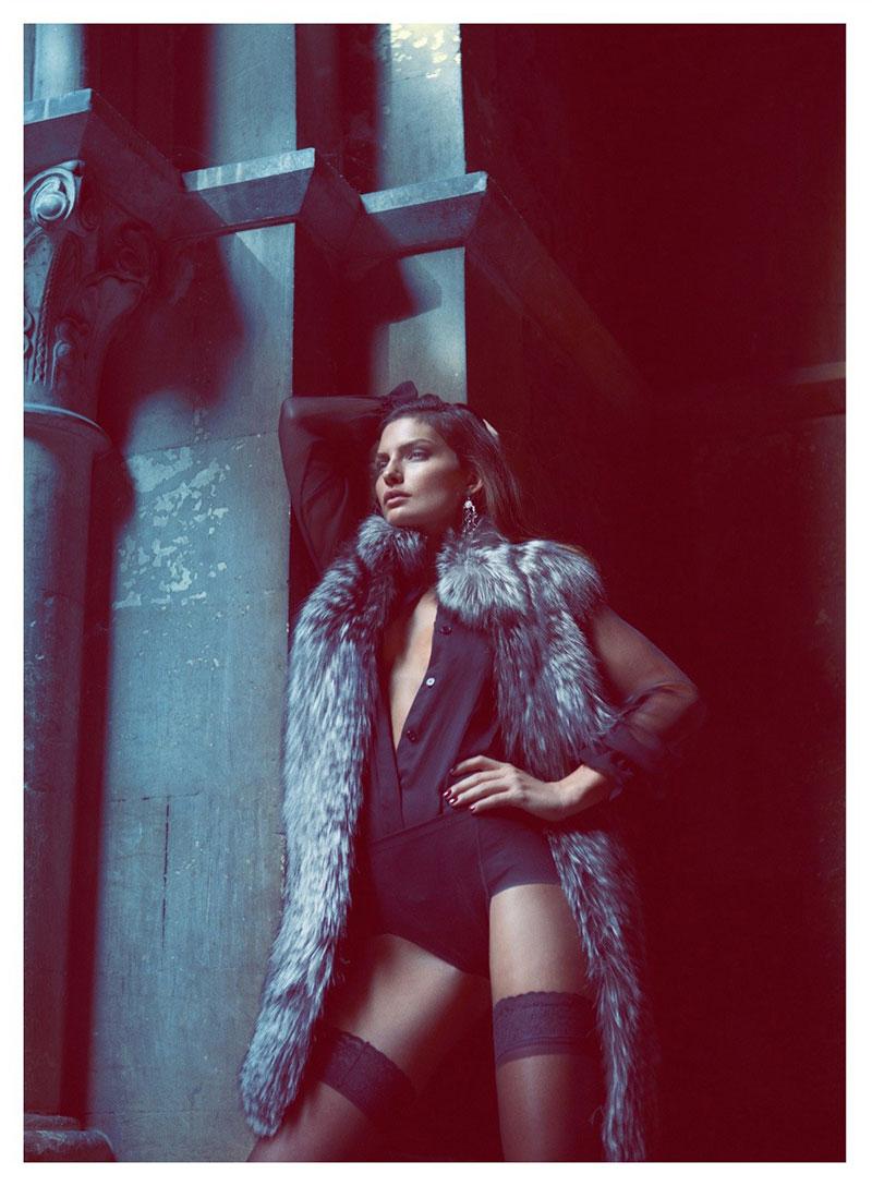 AlyssaLingerie8 Alyssa Miller Wows in Fur Styles for Harpers Bazaar Turkey December by Koray Birand