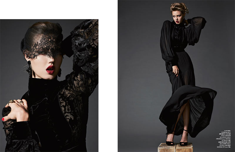 lindsey wixson11 Lindsey Wixson is Glam in Gucci for Harpers Bazaar Korea November 2012 by Michael Schwartz
