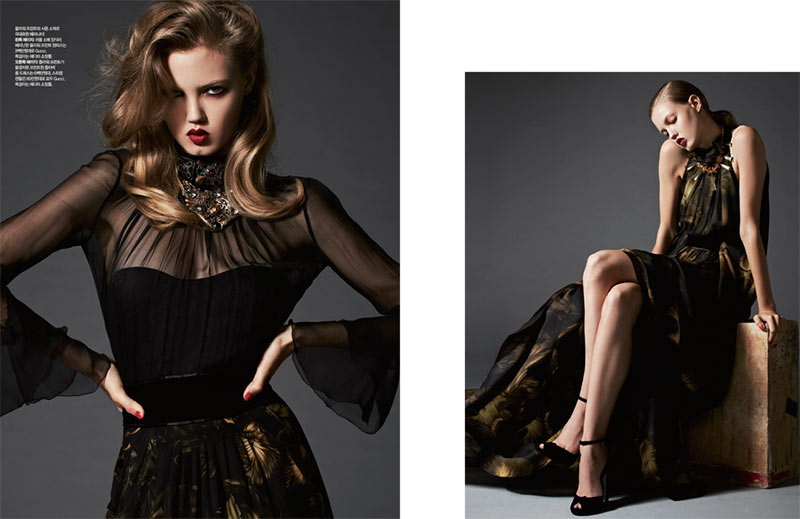 lindsey wixson2 Lindsey Wixson is Glam in Gucci for Harpers Bazaar Korea November 2012 by Michael Schwartz
