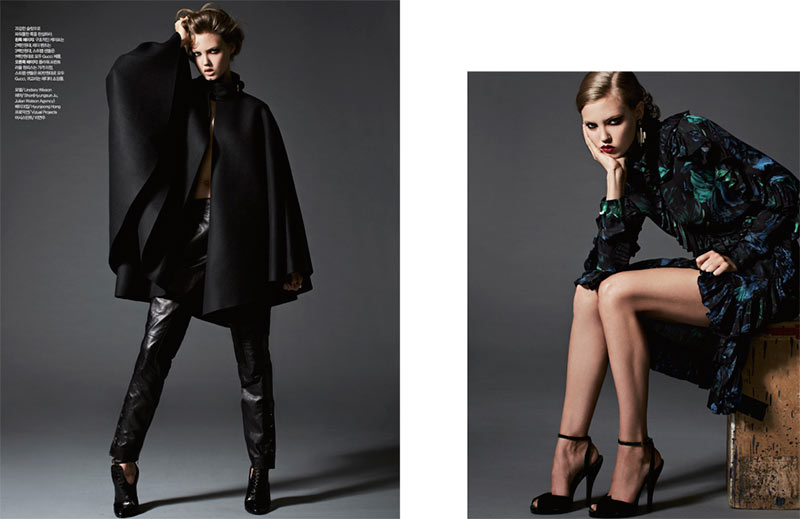 lindsey wixson4 Lindsey Wixson is Glam in Gucci for Harpers Bazaar Korea November 2012 by Michael Schwartz
