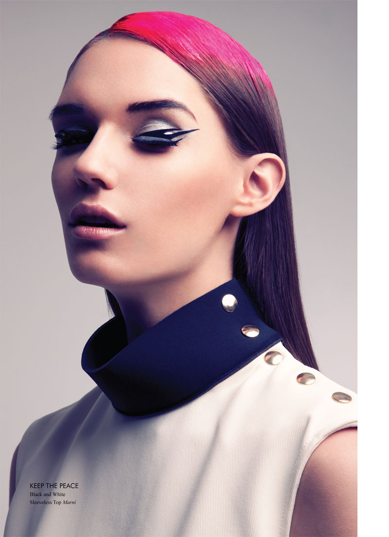 Nadya Trofimova in graphic eyeliner for Fashion Gone Rogue