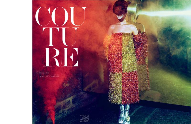 haute couture interview germany1 Franzi Mueller Dons Haute Couture for Interview Germany March 2013 by Markus Jans