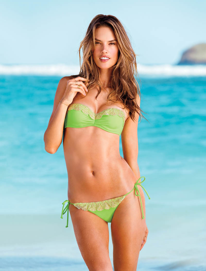 swim 3 2013 alessandra ambrosio beach sexy lace trim bandeau victorias secret hi res Candice Swanepoel, Alessandra Ambrosio, Maryna Linchuk and Erin Heatherton Grace Victorias Secret Summer of Sexy Catalogue