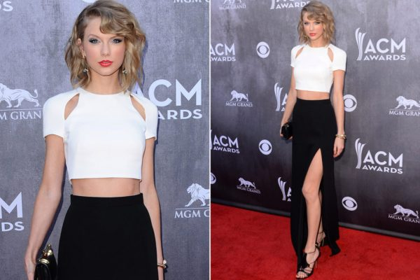 Taylor Swift in Black over all with white crop top