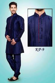 Mens Silk Kurta Pajamas Neck Embroidery