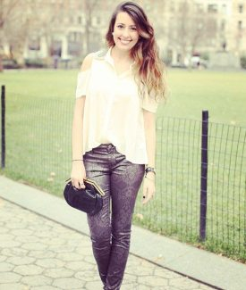 Stalk My Style: Total Stud Blouse & Printed Lace Skinny Jeans