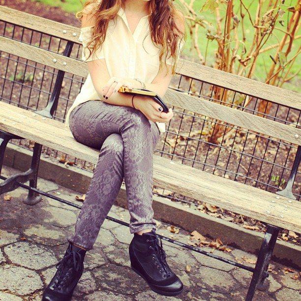 ASOS Sneaker Wedges, Printed Lace Skinny Jeans, Embellished Collar Nasty Gal Blouse