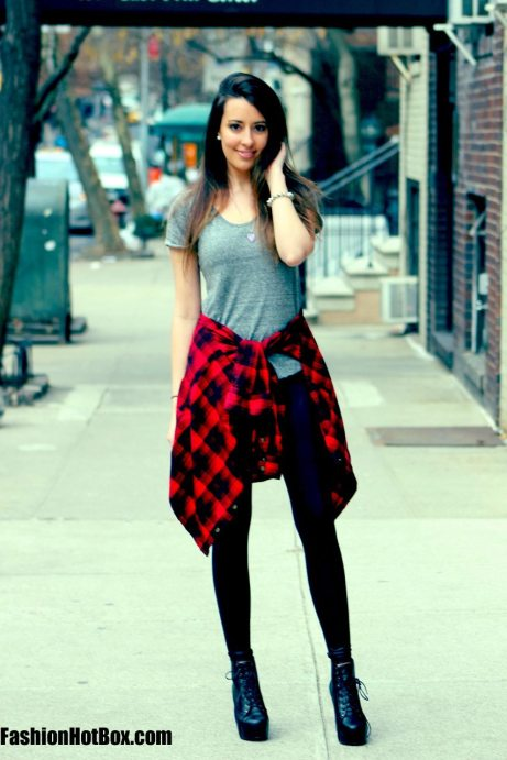 Plaid Flannel, Leather leggings, platform Litas