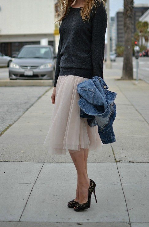 tulle skirt, oversized sweater, heels trend