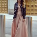 Sophisticated & classy fall style with dress and leather jacket