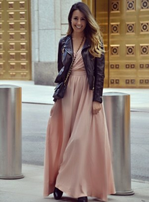 Transitional Fall Style: Maxi Dress & Leather