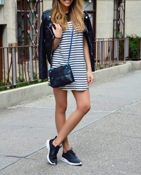 Striped Mini Dress & Leather Jacket