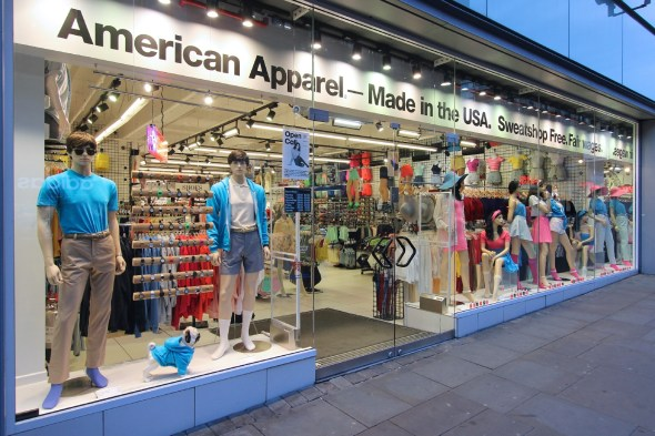 American Apparel fashion store on April 23, 2013 in Manchester, UK. American Apparel was founded in 1989.