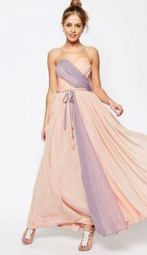 Asos Salon Cross Over Colour Block Cami Maxi Dress