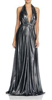 Jill Jill Stuart Plunce Halter Metallic Gown - Bloomingdale's