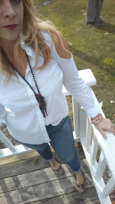 This crisp white top from JCP is a button down, another fun style
