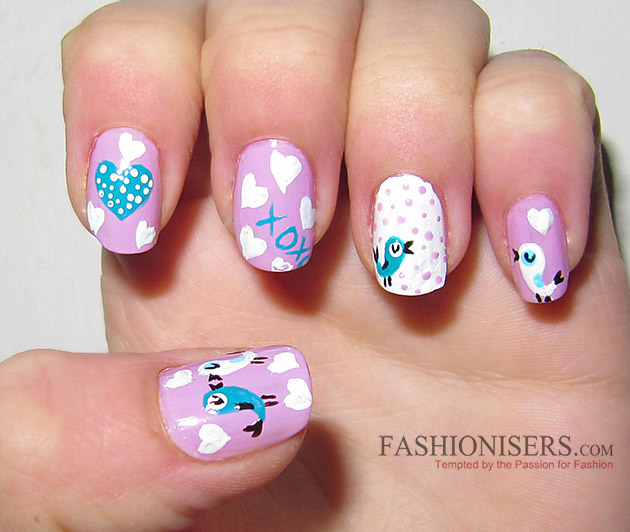 17 Love-Inspired Valentine's Day Nail Art Designs: Loving Birds Nails