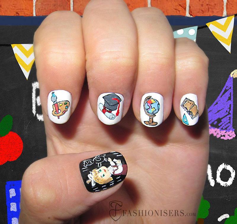 12 Cute Back To School Nail Art Designs