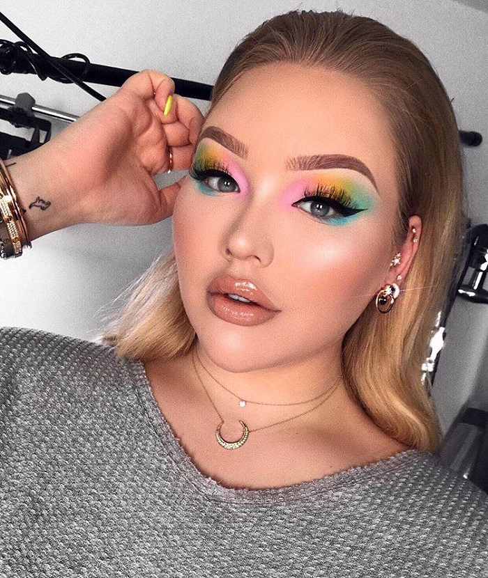 Colorful Makeup Looks to Don at A Summer Party rainbow lids eyeliner