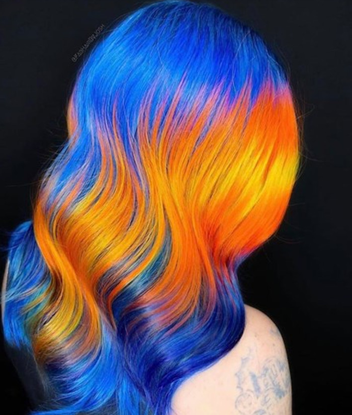 multicolored neon hair