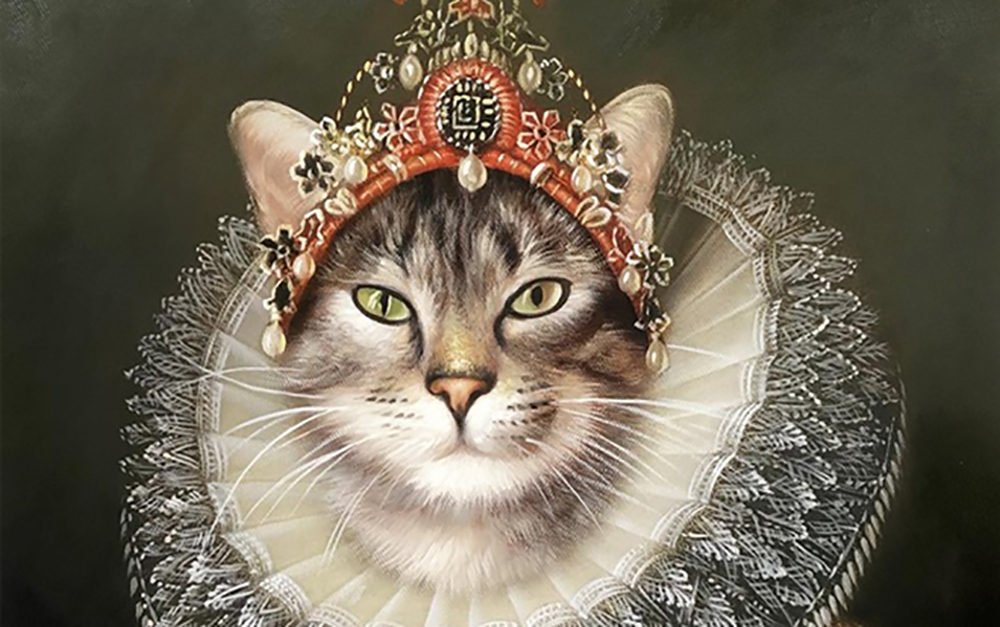 A custom oil painting of a cat decked out as a royal.