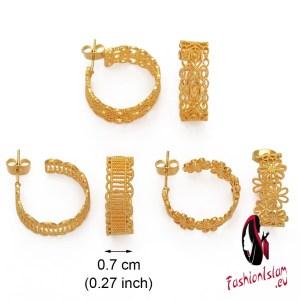 (1 Pair) Gold Color Earring for Women Girls Trendy Jewelry Earing Woman Stud Earrings African Arab Middle East Jewellery #007809