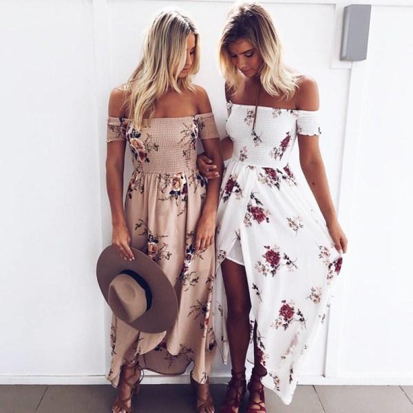 37b0128f074 Boho Dress Lady Strapless Floral Print - Gypsy Girls