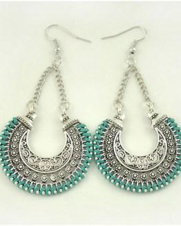 Boho Drop Earrings Green/Silver