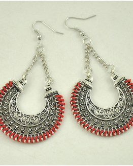 Boho Drop Earrings Red/Silver