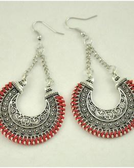 Boho Drop Earrings Red/Silver