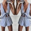 Two-Piece-Set-Blue-Striped-Playsuits-Beach-Casual-Short-Pants-Jumpsuit-Rompers-Sexy-Sleeveless-V-Neck