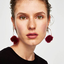 Cotton Ball Hot Drop Earrings