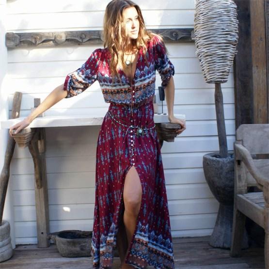 Bohemian Printing Long Dress