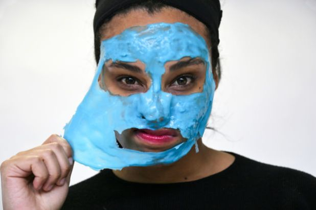 """<p><strong>Dr. Dennis Gross Hyaluronic Marine Hydrating Modeling Mask, $46, <a href=""""http://rstyle.me/~9WSRm"""" rel=""""nofollow"""">available at Sephora</a>:</strong><em></em>The only """"rubber"""" mask of the group (meaning it begins as a powder you mix with water to form a rubbery layer that's much thicker than the other formulas), this bright-blue pick had a """"jelly slime"""" quality for Chloe, but... in a good way. With hyaluronic acid and marine algae, this hydrating mask leaves skin feeling coddled, not stripped, when you peel it off. Chloe also enjoyed the hands-on """"science experiment"""" act of concocting the mask in the included bowl before smoothing it over her skin.</p>"""