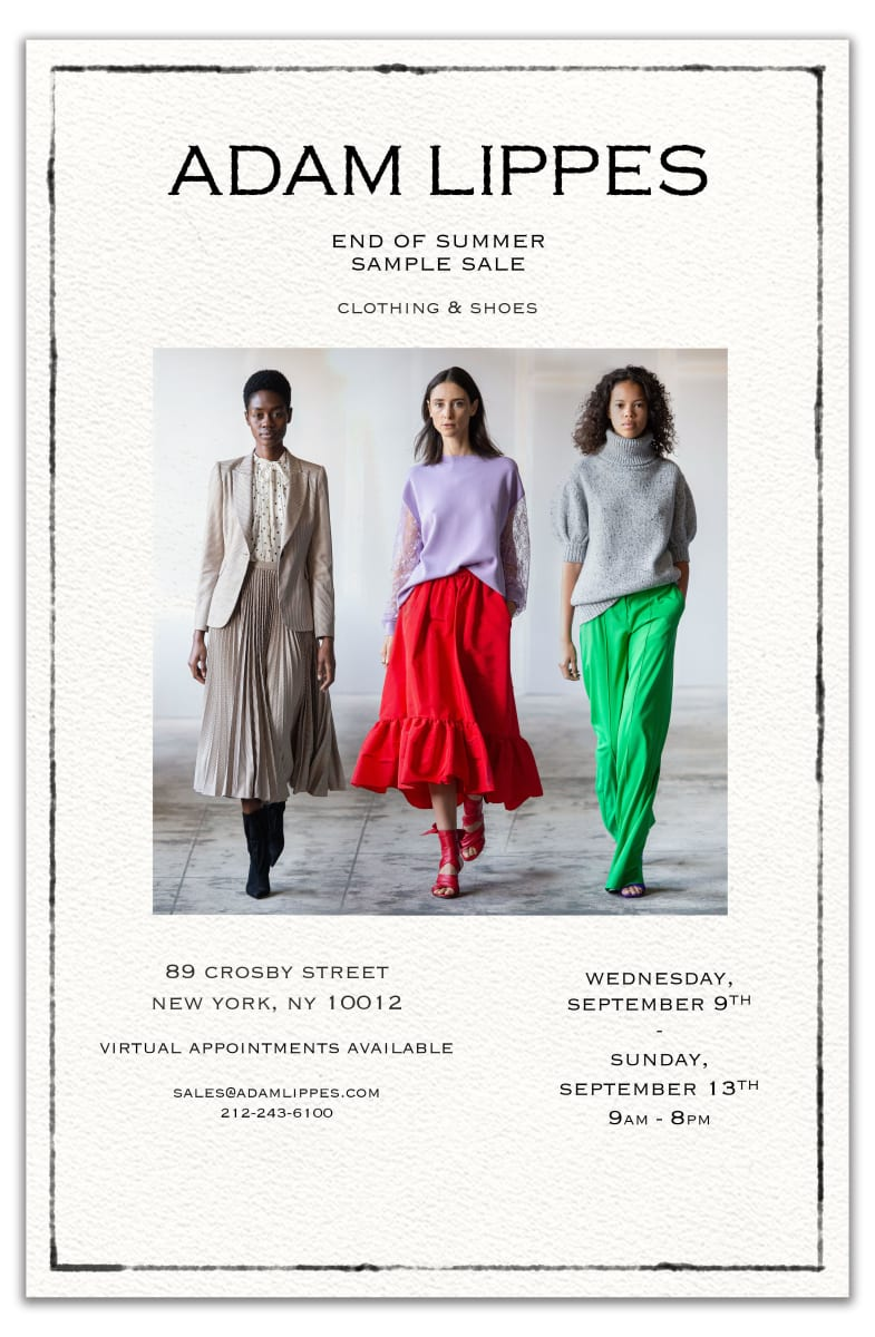 ADAM LIPPES End of Summer Sample Sale, 9/9 - 9/13