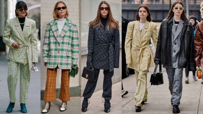 Plaid suits at New York Fashion Week. Photos: Jeremy Kang/Fashionista; Imaxtree (3)