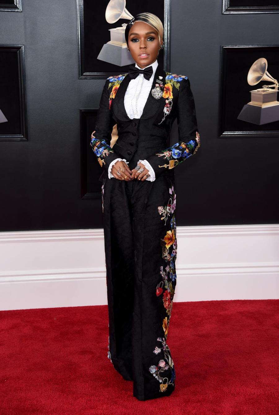 Janelle Monae in Dolce & Gabbana - Red Carpet Grammy Award 2018