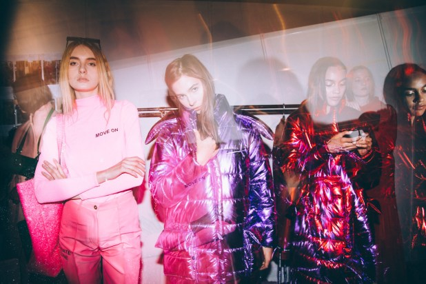 Backstage with models dressed in the Mach & Mach fall 2017 collection. Photo: Mercedes-Benz Fashion Week Russia