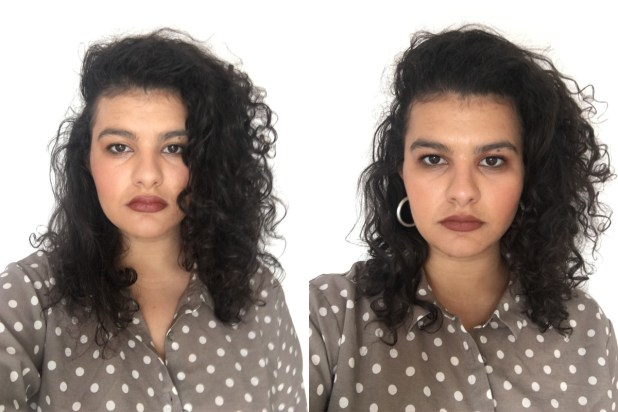 Before (left) and after (right) using the Bumble and Bumble product. Photos: Tamim Alnuweiri