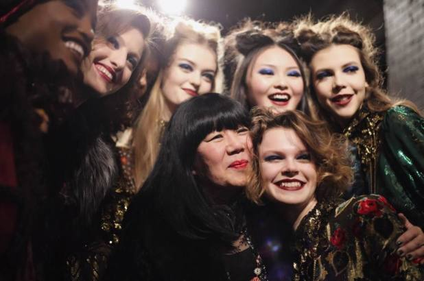 Anna Sui with models backstage at her Fall 2017 runway show. Photo: @annasui/Instagram